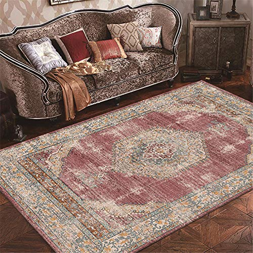ZHAOPAI room rug Light red carpet retro pattern sofa coffee table carpet house accessories living room -light red_80x160cm