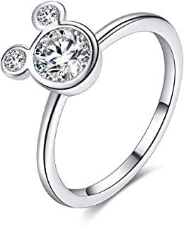 ERLUER Women's Mickey Shape Rings Sterling Silver Plated...