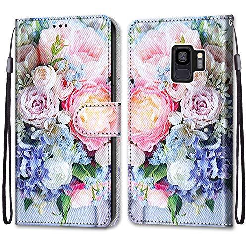 Nadoli Handyhülle Leder für Samsung Galaxy S9,Bunt Bemalt Rosa Strauß Trageschlaufe Kartenfach Magnet Ständer Schutzhülle Brieftasche Ledertasche Tasche Etui
