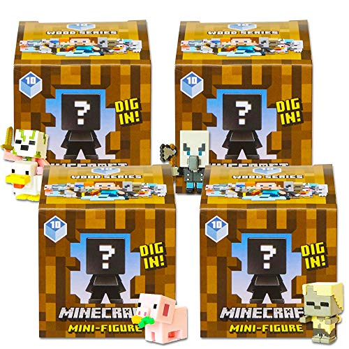 Minecraft Mystery Figures Series 10 -- Bundle Includes 4 Wood Series Blind Boxes with Minifigures