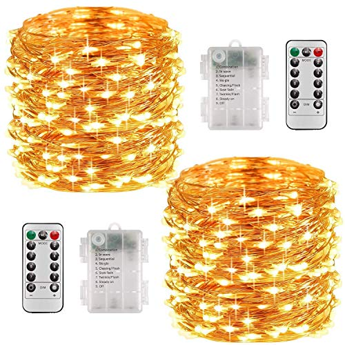 Fairy Lights Battery Operated, 10M 100 LEDs 8 Modes Copper Wire String Lights with Remote Control and Timer, Waterproof Firefly Lights for Christmas Bedroom Decoration, 2 Pack (Warm White)