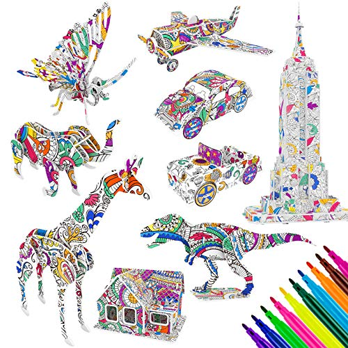 MOOKLIN ROAM 9 Pack Puzzle da Colorare 3D, Gioco Puzzle di Pittura 3D, Regalo Art And Craft Set con 30 Pennarelli per Bambini e Adulti