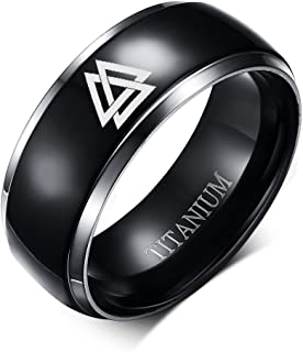 8MM Black Titanium Viking Norse Pagan Valknut Knot Silver Grooved Edge Ring for Men,Size 6-13