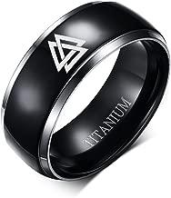 VNOX 8MM Black Titanium Viking Norse Pagan Valknut Knot Silver Grooved Edge Ring for Men,Size 6-13