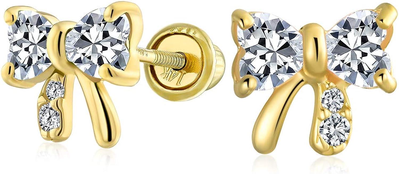 Tiny Minimalist Delicate AAA Houston Mall CZ Ribbon Wom For Bow Earrings Stud Columbus Mall