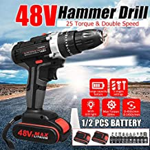 Gizayen 48V Electric Hammer Drill Cordless Drill Woodworking Tool Rechargeable Woodworking Drills, Cordless Electric Screwdriver Rechargeable Screw Gun & bit Set