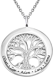 MyNameNecklace Engraved Circle Family Tree Necklace with Clear CZ Stones-Personalized V-Day Jewelry Sterling Silver 925