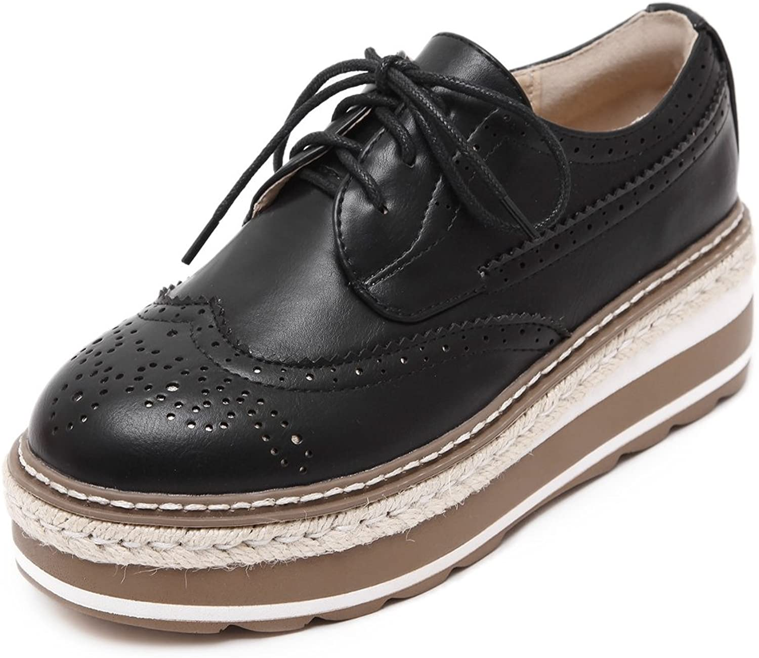 CyBLING Mode Casual kvinnor Mid Heel Lace Up Thick Sole Platform Oxford skor