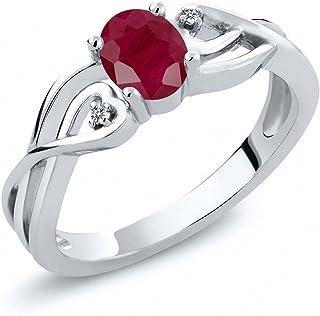 0.61 克拉 椭圆形 红色 红宝石 搭配 白色 钻石 925银