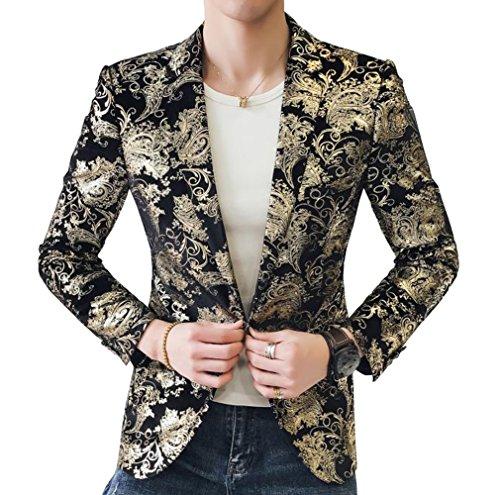 COOFANDY Mens Fashion Dress Suit Jacket Slim Fit Casual One Button Lapel Blazer Party Wedding Dinner Prom Tuxedo,Golden Yellow,Medium
