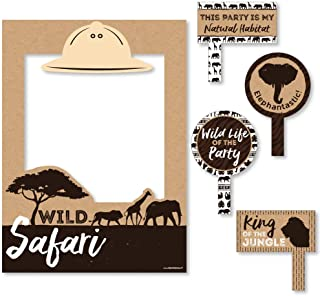 Big Dot of Happiness Wild Safari - African Jungle Adventure Birthday Party or Baby Shower Selfie Photo Booth Picture Frame & Props - Printed on Sturdy Material