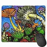 Alfombrilla de ratón Pintada de Setas del Bosque con Bordes cosidos - Alfombrilla de ratón para Juegos para Ordenador portátil