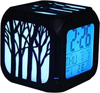 Bonamana 3D Hollow Forest Print Alarm Clock Light Nightlight Accessories-Time, Temperature, Alarm, Date, for Teenager Adults (Forest)