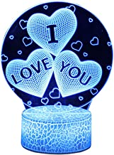 Uonlytech I Love You 3D Night Light Bedside Desk Table Lamp for Girls Present Valentines Day Anniversary