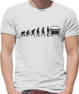 Teesh Evolution of Man - Bay Window Camper Van - Mens T-Shirt-White-XXL