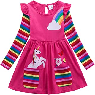 JUXINSU Cotton Girls Flower Rainbow Long Sleeve Dresses Butterfly Animal for Kids 3-8 Years