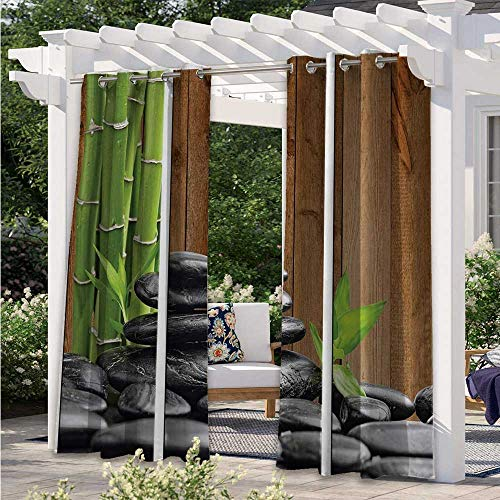Indoor Outdoor Curtains Spa Zen Basalt Stones and Bamboo Trees Picture Print Blackout Patio Outdoor Curtains for Back Deck to Provide Additional Privacy GreenDark GrayBrown W84 x L84 Inch