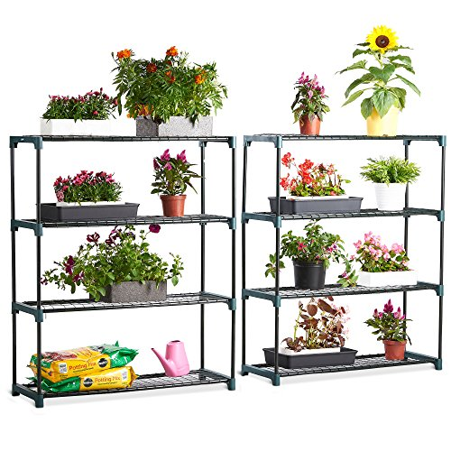 VonHaus 4 Tier Steel Greenhouse Staging Unit – Shelving Storage Racking Display for Garden, Greenhouse, Shed, Garage - Outdoor Plant Stand – 2 Pack