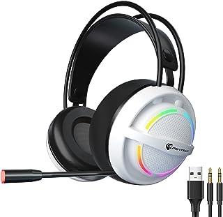 H HILABEE Spelheadset med mikrofon för PC stereo-spelhörlurar med brusreducerande mikrofon kabelerade över örat spelhörlur...