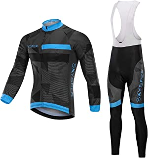 SKYSPER Cycling Jersey Set Men, MTB Bike Bib Short Sleeve Quick-Dry Breathable Shirt 3D Cushion Shorts Padded Pants Blk…