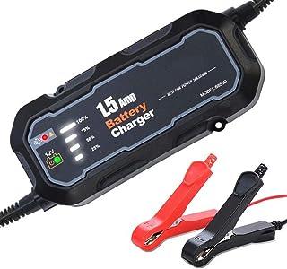 Batteriladdare 12V för bil och motorcykel intelligent reparation blybatteriladdning 1500mA (svart)