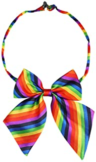 Allegra K Women's Pre-Tied Bowknot Bow Tie Striped Uniform Adjustable Bowtie Cosplay Costume