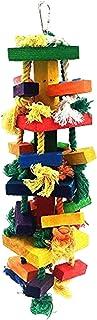 Baoblaze Zabawka na biegunach dla ptaków, zabawka papugi, klatka dla ptaków, bloki z naturalnego drewna, wisząca zabawka d...