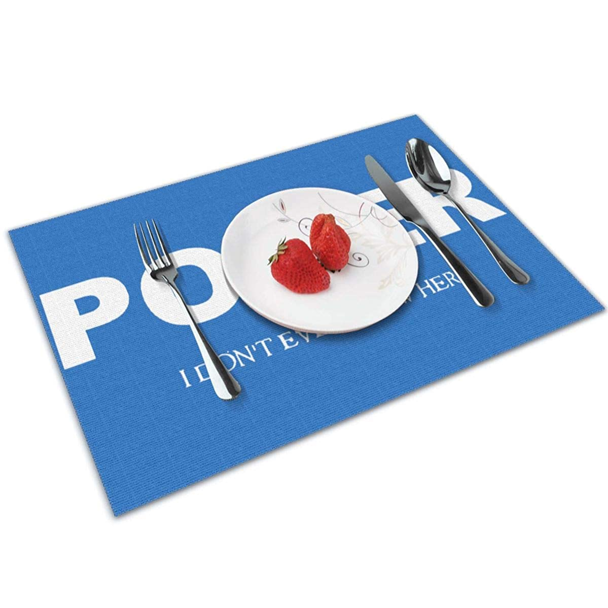 Candy Ran Poker I Don't Ever Know Her Indoor/Outdoor Placemats/Place Mats/Table Mats Set of 4, Kitchen Tablemats for Dining Table, Non-Slip Washable Heat Resistant