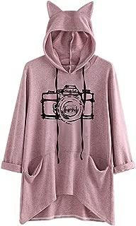 TUSANG Women's Outwear Fashion Long Sleeve Tunic Tops Fish Print Cat Ear Hoodie Sweatshirt Pullover Blouse