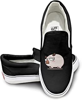 EWIED Unisex Classic Cute Pig Live Slip-On Shoes Black