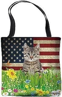 Spring Flowers and Lawn Tote Bag Cute Pet American Flag Background Patriotic Canvas Shoulder Bag Handbag Casual Tote