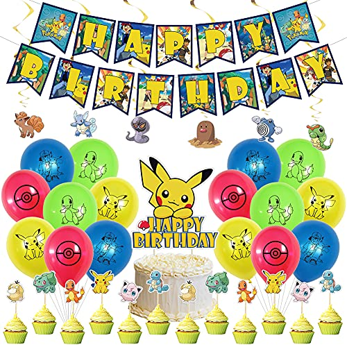 Pokemon Children's Birthday Party Decoration,Birthday Balloons for Pokemon Pikachu Party ,Pikachu Theme Party Latex Balloons ,Pokemon Birthday Banner balloon Pikachu for Party Decoration Supplies