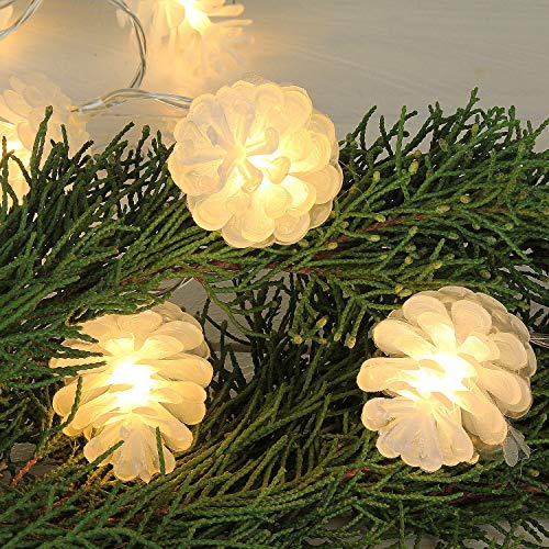 MACOSA CE63761 2er Set Tannenzapfen-Lichterkette LED Warmweiß mit 10 Zapfen pro Kette 130 cm Weihnachts-Beleuchtung Innen batteriebetrieb