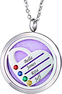 FanSi Custom Family Name Birthstone Necklace Aromatherapy Essential Oil Diffuser Necklace, Custom Made with 2-4 Names