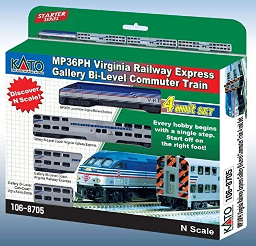 marca en liquidación de venta Kato USA Model Train Products MPI MP36PH Virginia Virginia Virginia Railway Express Gallery Bi-Level 4-Unit Set by Kato USA Model Train Products  barato