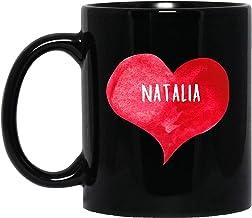 Taza de té, color blanco, I Love Natalia taza con forma de corazón, taza de café personalizada de 325 ml, nombre personalizado, taza de regalo