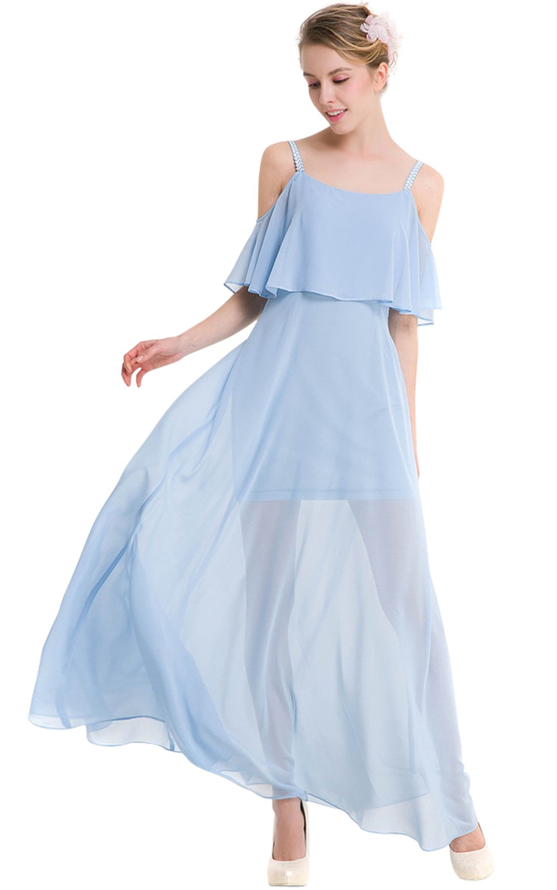 Available at Amazon: chouyatou Women's Sexy Off Shoulder Tiered Flowy Stappy Maxi Beach Dress
