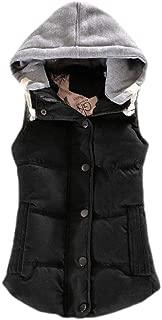 UUYUK Women Winter Padded Slim Fit Hoodie Vest Coat