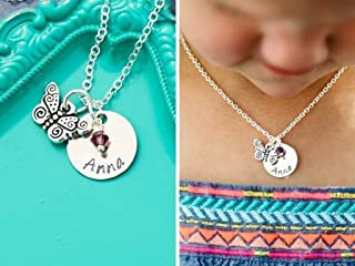 Personalized Butterfly Necklace - Custom Name, Birthstone - Handstamped 5/8 Inch Silver Disc - Little Girls Jewelry - DII AAA
