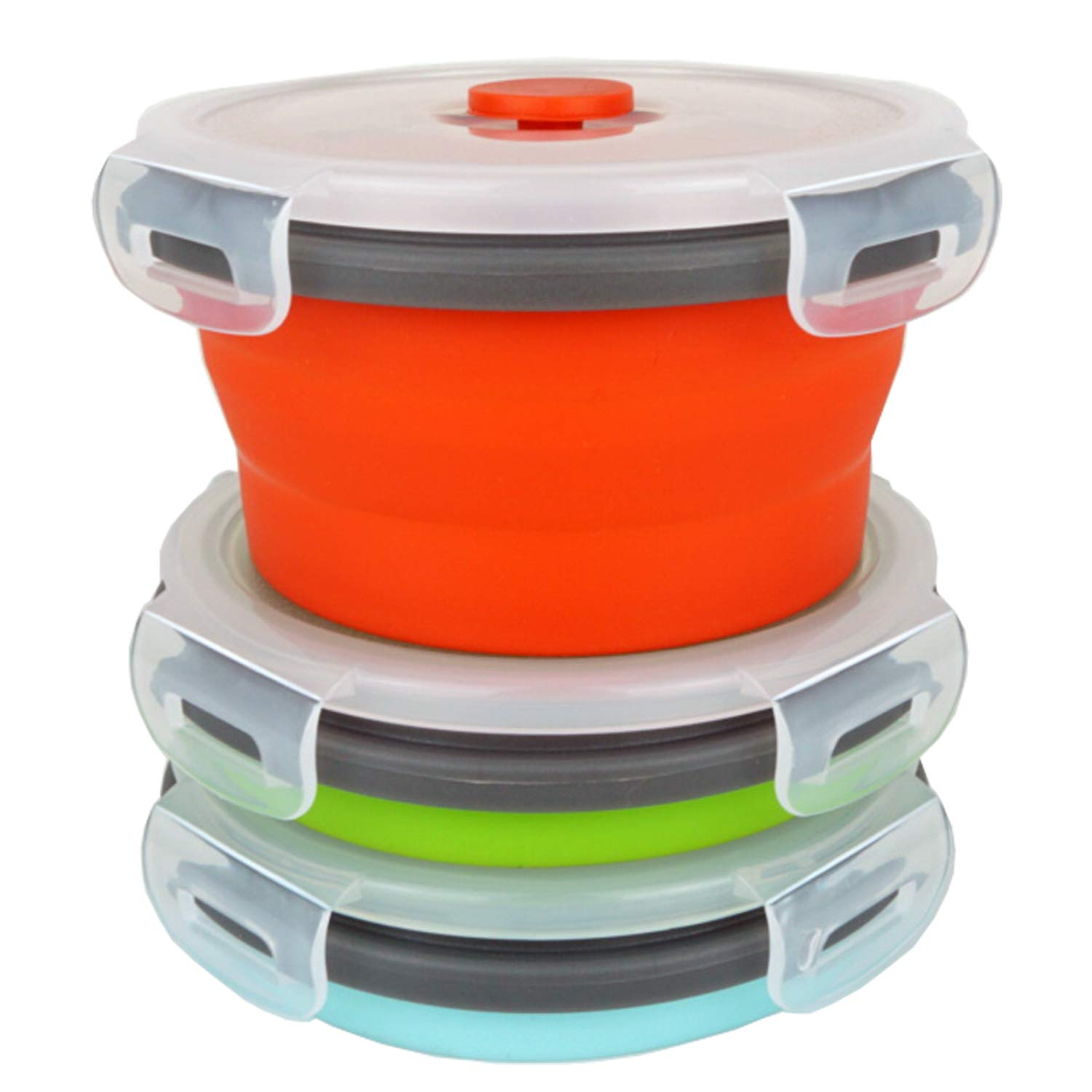 ECOmorning 3Piece Round Collapsible Lunch Container Silicone Food Storage Containers Collapsible Camping Bowl with Airtight Silicone Lids, Microwave, Freezer Safe, 350ML
