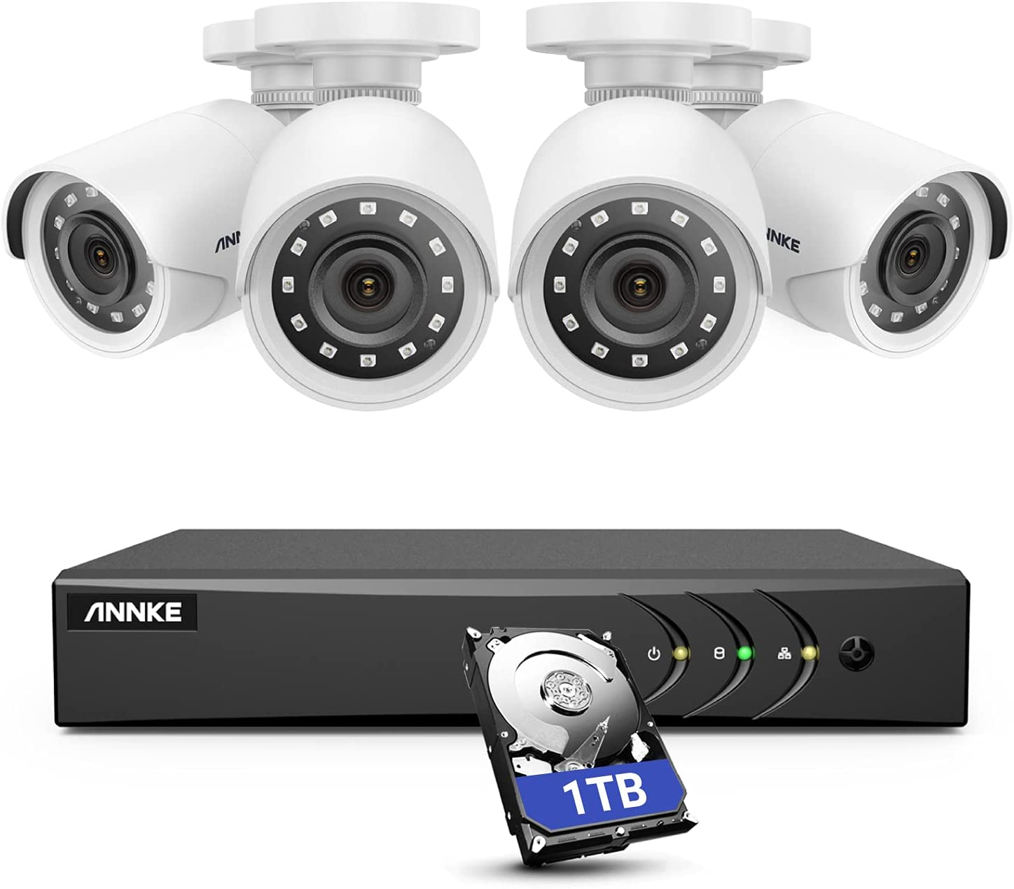 ANNKE 5MP lite Wired Security Camera System, 5-in-1 H.265+ 8CH DVR with 1 TB Hard Drive and (4) 1080p Weatherproof HD-TVI Surveillance Bullet Cameras, 100 ft Night Vision, Instant Email Alert – E200