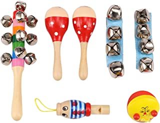 Zochoose Toddler Muscial Instrument,7PCS Music Toys for Toddler Includes Maracas, Hand Bell, Castanet, Waist Bell, Whistle