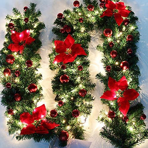 Keyohome Ghirlanda di Natale Artificiale con Luci 2.7M Ghirlanda di Albero di Natale Decorazione Natalizia Festiva per Caminetti per Scale (Rosso)