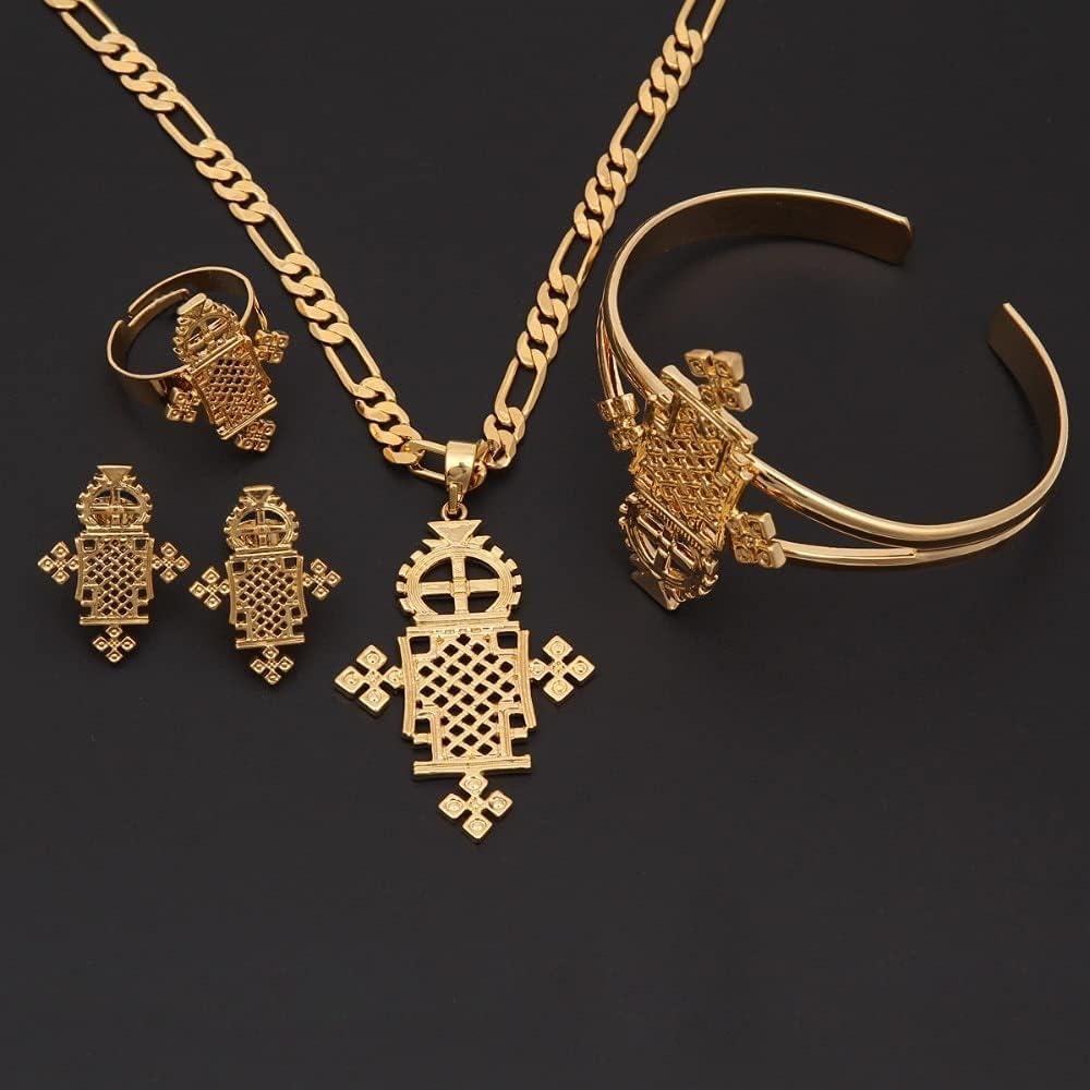 Sky talent bao Ethiopian Jewelry Sets 24k Gold GF Ring Necklace bracelet African/Ethiopian/Eritrean/Habesha