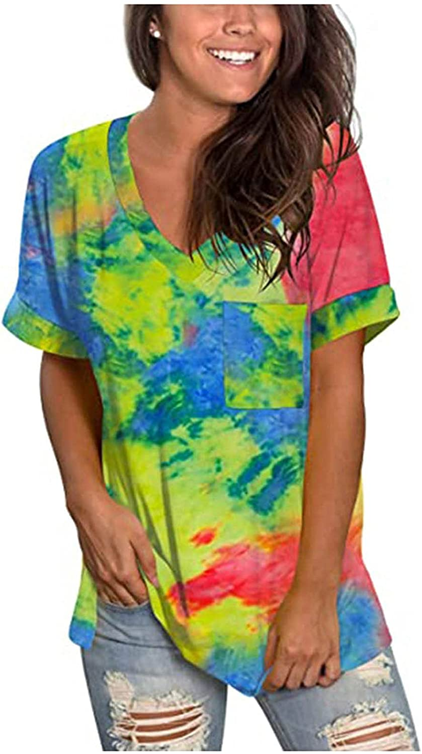 Summer Tops for Women, 2021 Women Casual Gradient Tops V-Neck Tees with Sleeves T-Shirt Printed Side Split Tunic Blouses