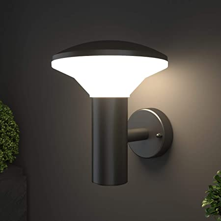 NBHANYUAN Lighting® Outside Lights Mains Powered LED Outdoor Wall Light Fixture Black Paint Finish Stainless Steel Exterior Light IP44 Weatherproof 3000K Warm White for Porch 1000LM