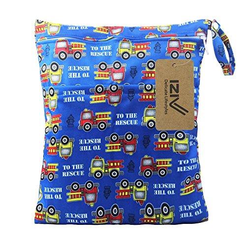 iZiv Bebé Reutilizable Impermeabilizan Mojado y Seco Bolsa de Pañales del Bebé Bolsa 2 Cremallera Impresión en Bolsa (Azul)