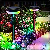 64 LEDソーラーライト、壁の庭の庭の装飾のための4つのモードの地下照明を備えたカラーチェンジウォームホワイトソーラーランプ