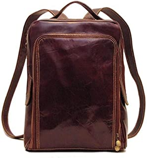 Front Gusseted Zip-Around Pocket Italian Leather Computer Backpack Fashion Trend Travel Bag. XFGBTJKYAUu (Color : Coffee, Size : S)