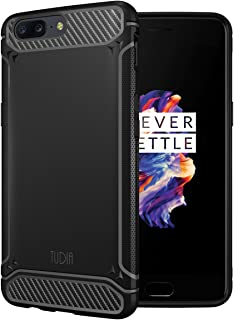 TUDIA OnePlus 5 Case, Carbon Fiber Design Lightweight [TAMM] TPU Bumper Shock Absorption Cover for OnePlus 5 (Black)